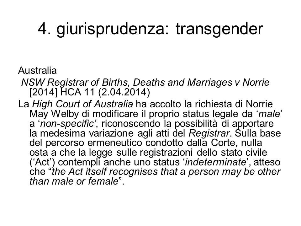 4. giurisprudenza: transgender