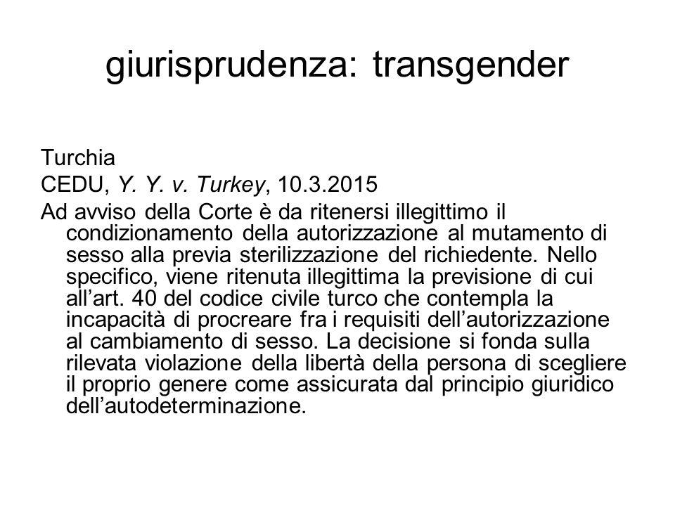 giurisprudenza: transgender