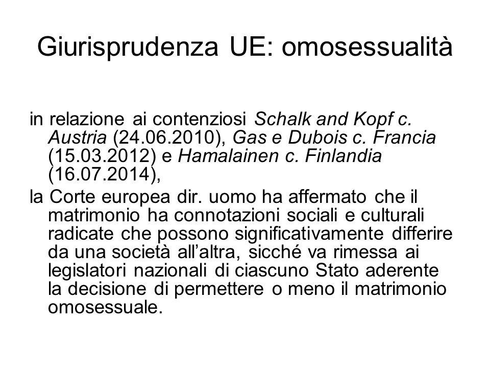 Giurisprudenza UE: omosessualità