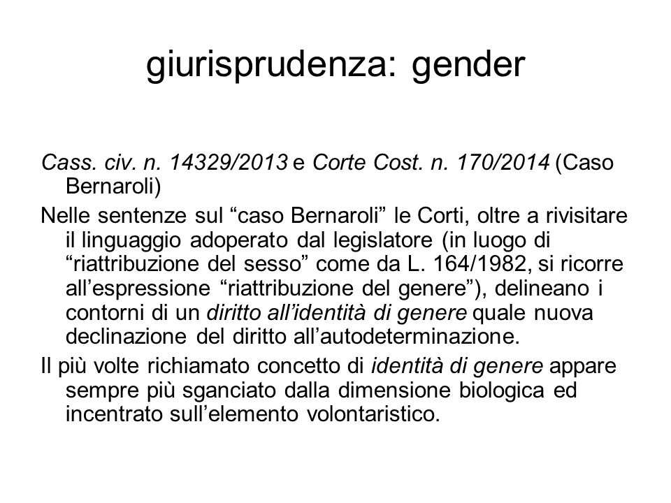 giurisprudenza: gender