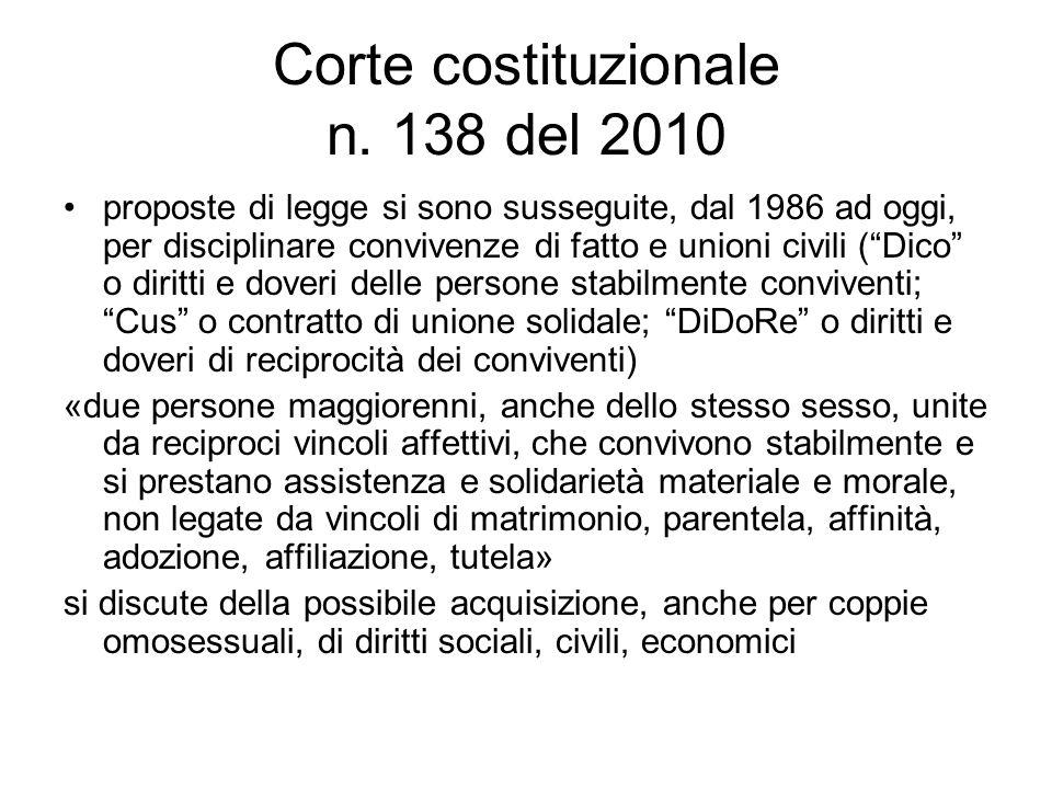 Corte costituzionale n. 138 del 2010