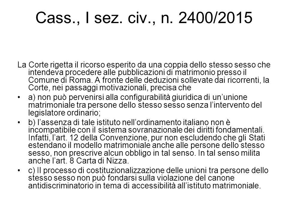Cass., I sez. civ., n. 2400/2015