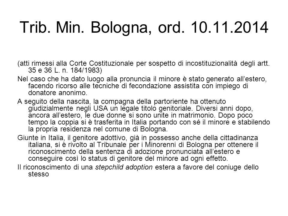 Trib. Min. Bologna, ord. 10.11.2014 (atti rimessi alla Corte Costituzionale per sospetto di incostituzionalità degli artt. 35 e 36 L. n. 184/1983)