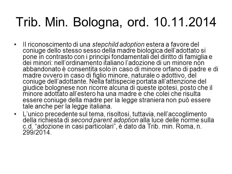 Trib. Min. Bologna, ord. 10.11.2014