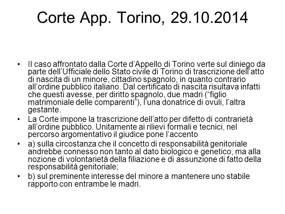 Corte App. Torino, 29.10.2014