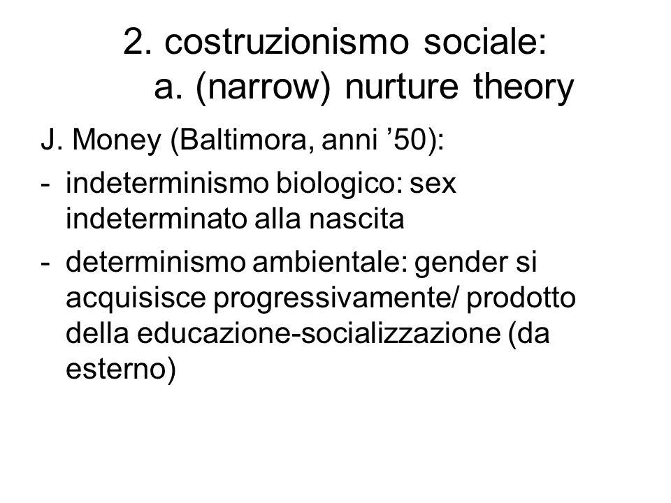 2. costruzionismo sociale: a. (narrow) nurture theory