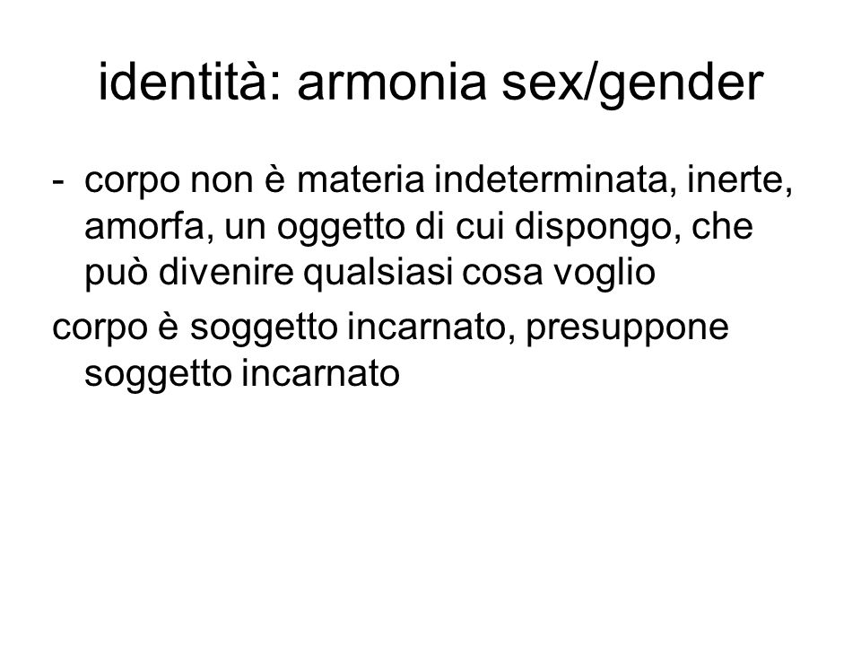 identità: armonia sex/gender