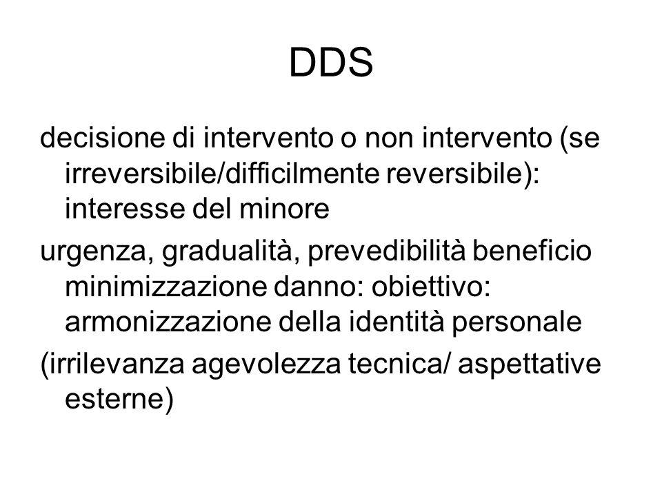DDS decisione di intervento o non intervento (se irreversibile/difficilmente reversibile): interesse del minore.