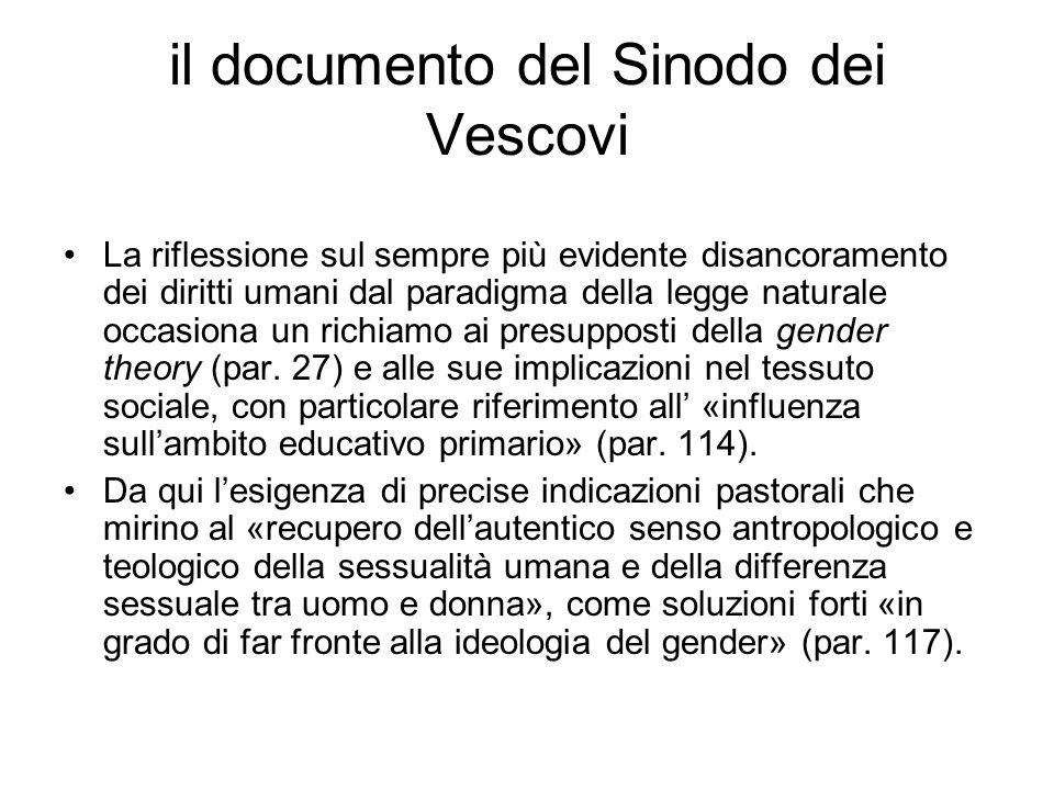 il documento del Sinodo dei Vescovi