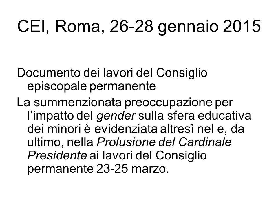 CEI, Roma, 26-28 gennaio 2015 Documento dei lavori del Consiglio episcopale permanente.