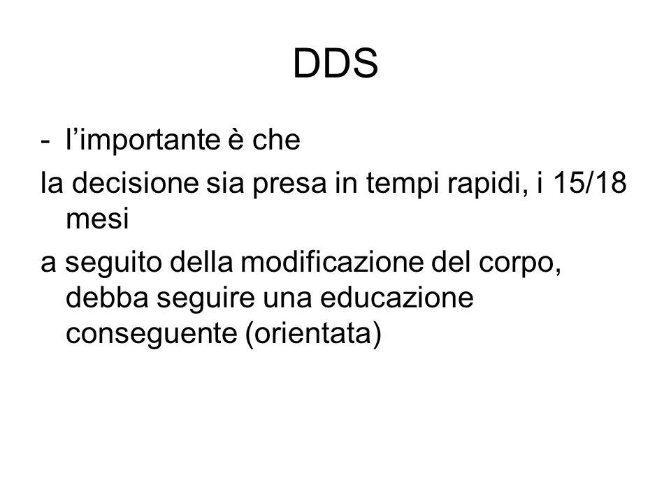 DDS l'importante è che. la decisione sia presa in tempi rapidi, i 15/18 mesi.
