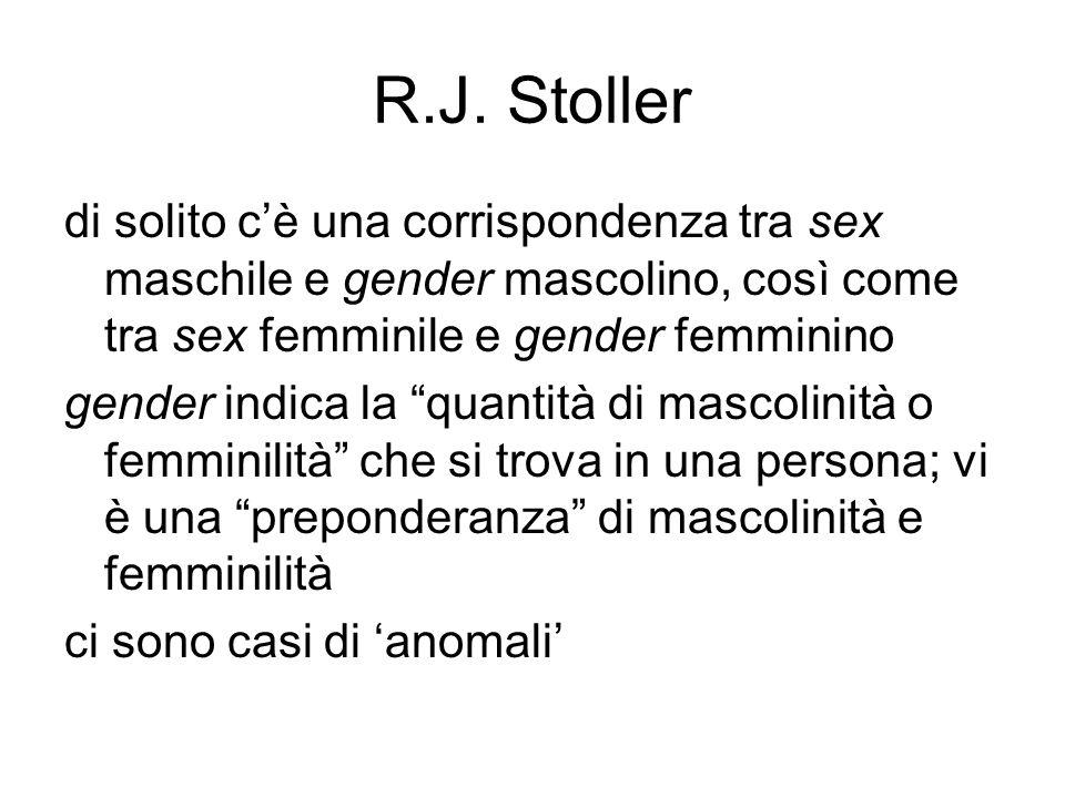 R.J. Stoller di solito c'è una corrispondenza tra sex maschile e gender mascolino, così come tra sex femminile e gender femminino.