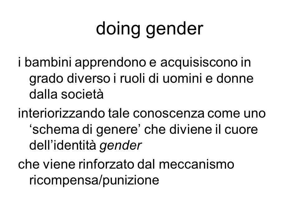 doing gender i bambini apprendono e acquisiscono in grado diverso i ruoli di uomini e donne dalla società.