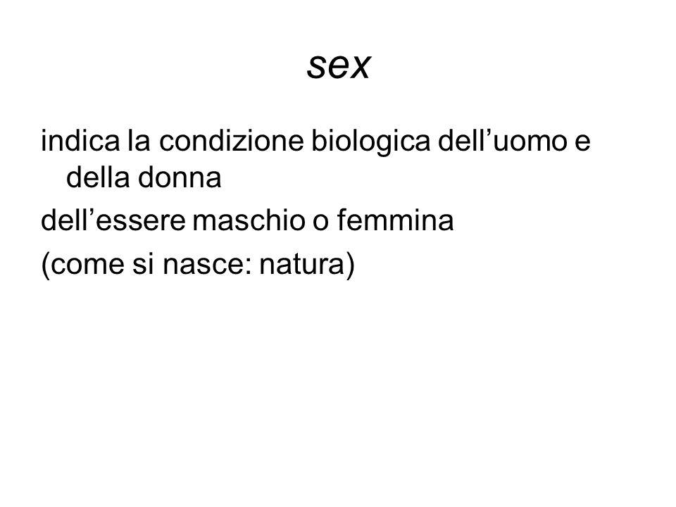 sex indica la condizione biologica dell'uomo e della donna