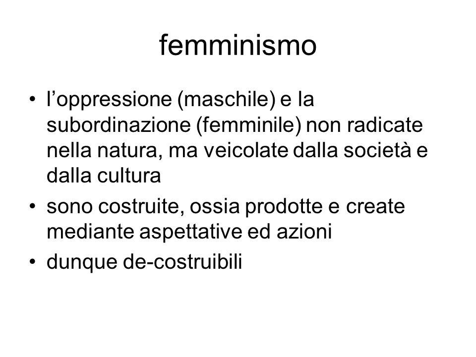 femminismo l'oppressione (maschile) e la subordinazione (femminile) non radicate nella natura, ma veicolate dalla società e dalla cultura.