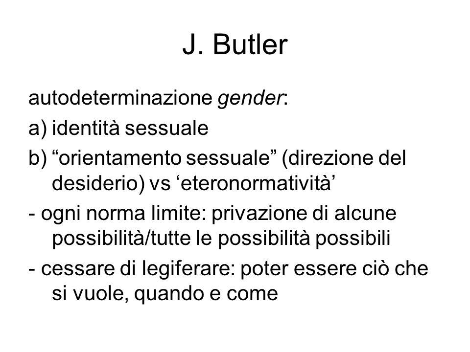 J. Butler autodeterminazione gender: identità sessuale