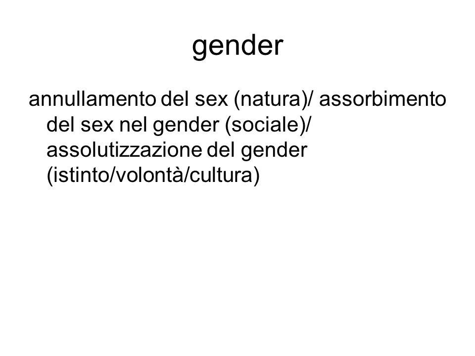 gender annullamento del sex (natura)/ assorbimento del sex nel gender (sociale)/ assolutizzazione del gender (istinto/volontà/cultura)