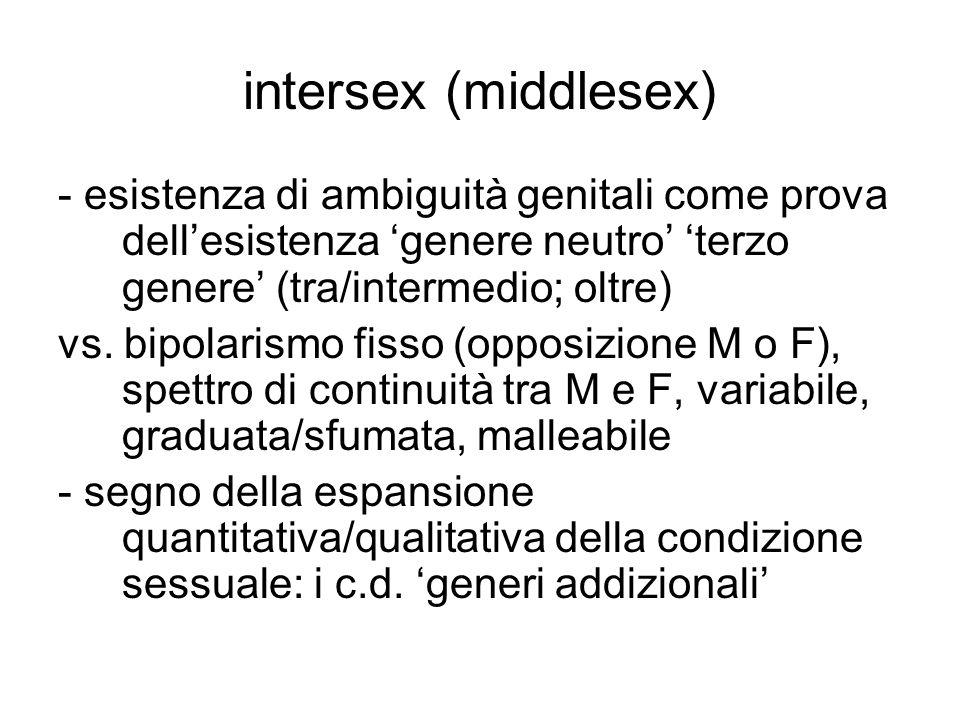 intersex (middlesex) - esistenza di ambiguità genitali come prova dell'esistenza 'genere neutro' 'terzo genere' (tra/intermedio; oltre)