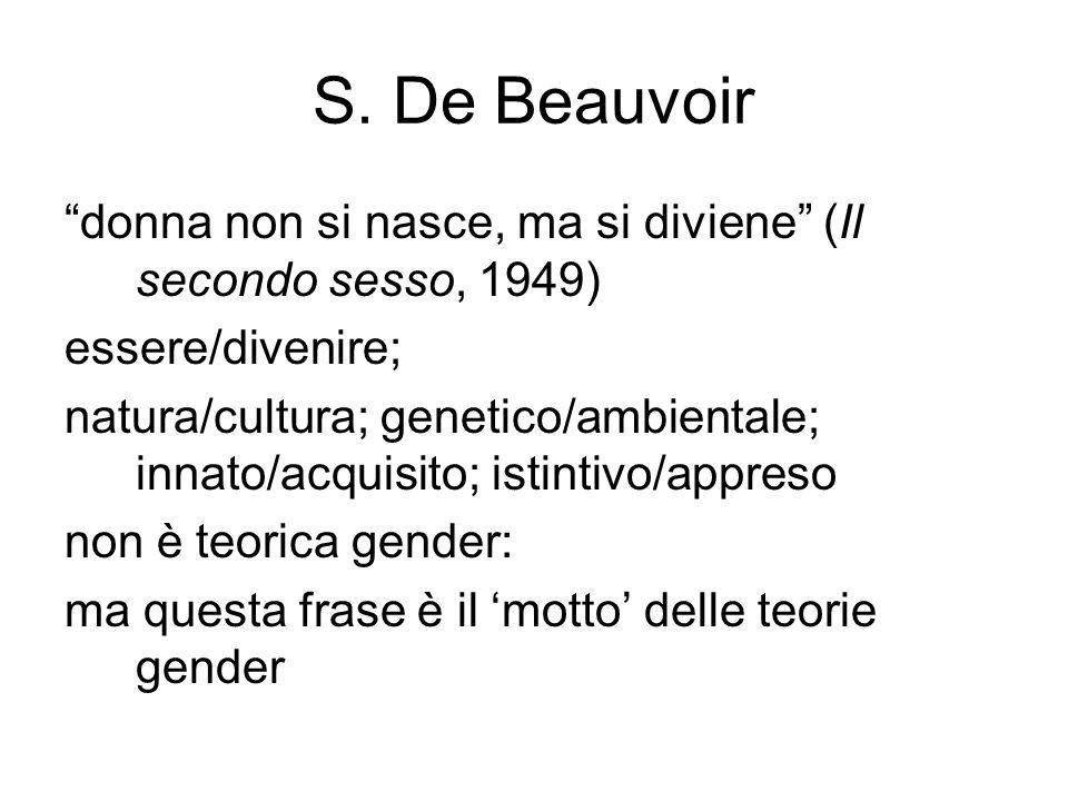 S. De Beauvoir donna non si nasce, ma si diviene (Il secondo sesso, 1949) essere/divenire;