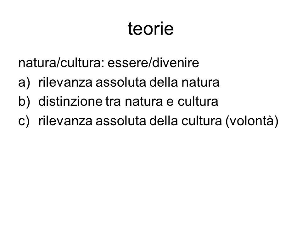 teorie natura/cultura: essere/divenire rilevanza assoluta della natura