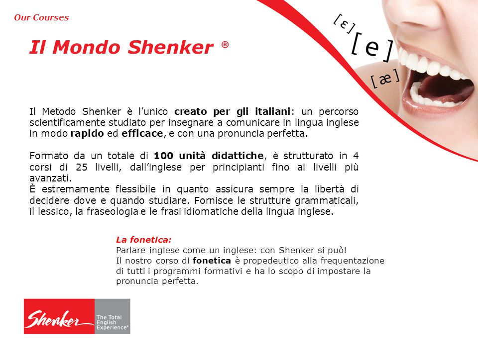 Our Courses Il Mondo Shenker ®