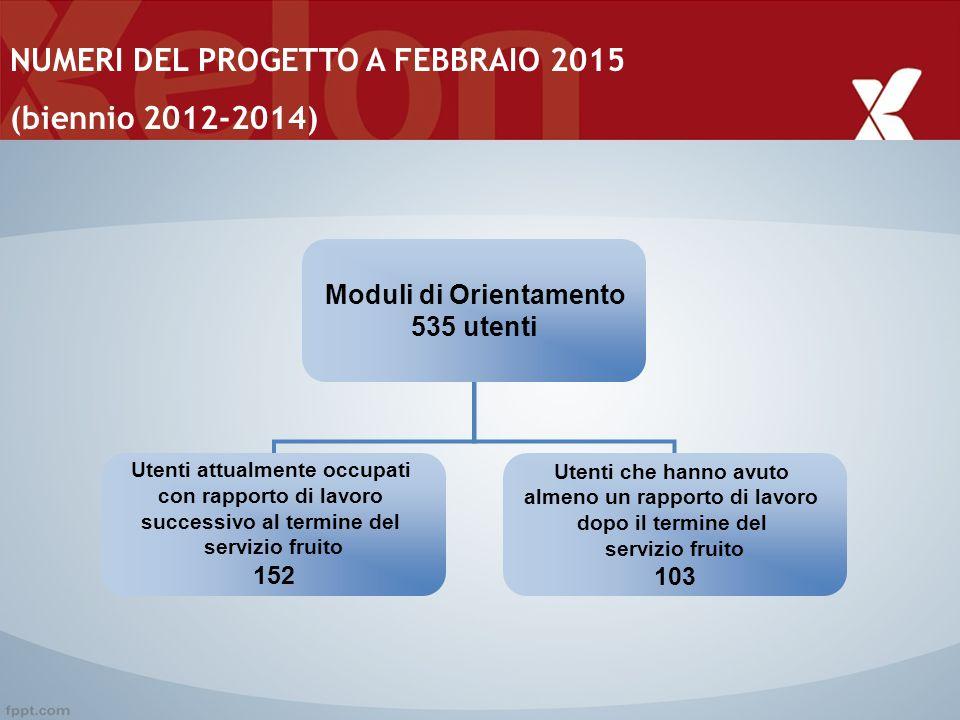NUMERI DEL PROGETTO A FEBBRAIO 2015 (biennio 2012-2014)