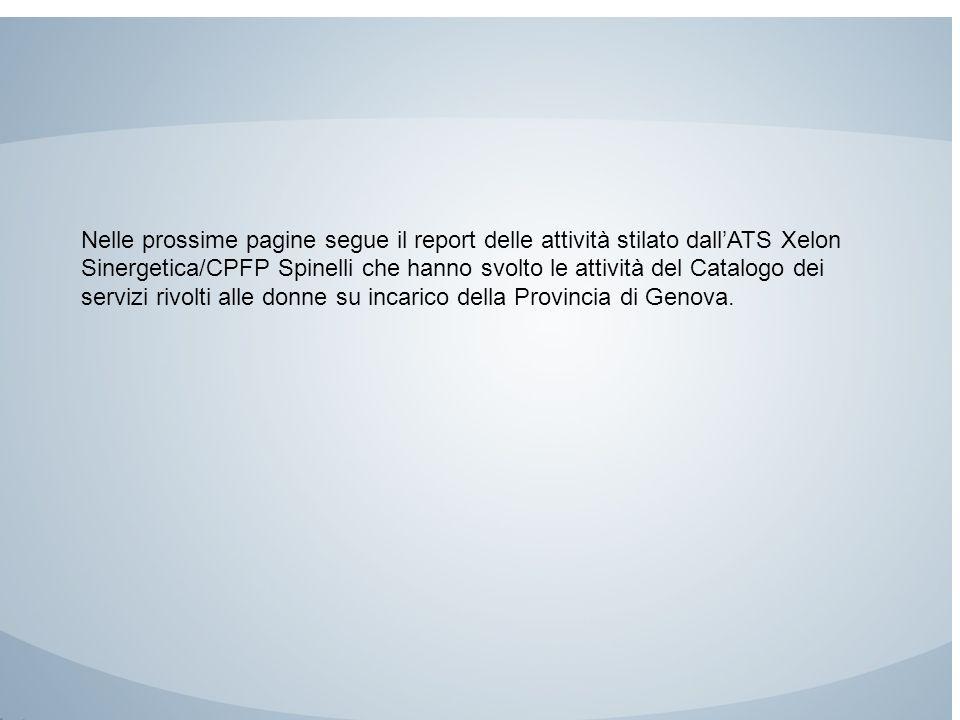 Nelle prossime pagine segue il report delle attività stilato dall'ATS Xelon Sinergetica/CPFP Spinelli che hanno svolto le attività del Catalogo dei servizi rivolti alle donne su incarico della Provincia di Genova.