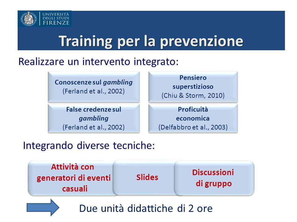 Training per la prevenzione