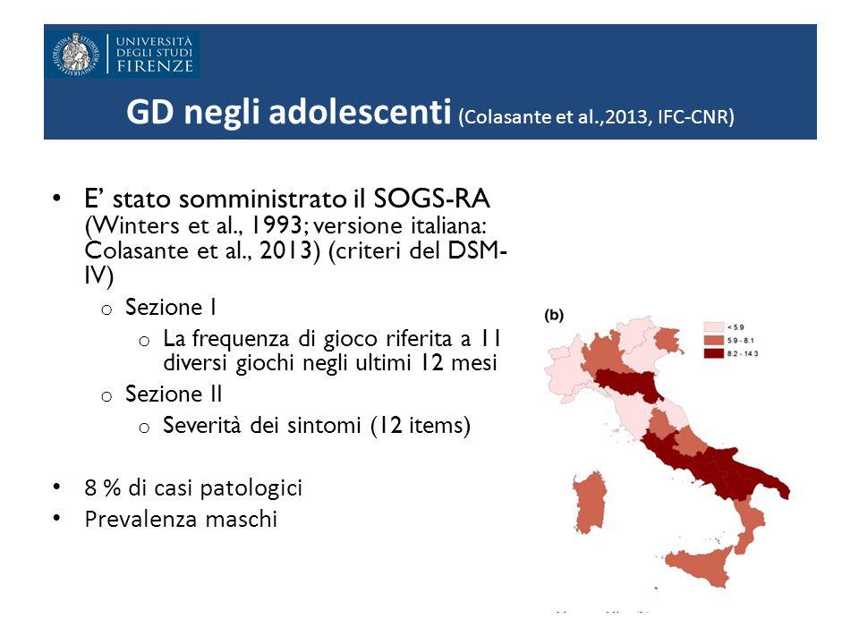 GD negli adolescenti (Colasante et al.,2013, IFC-CNR)