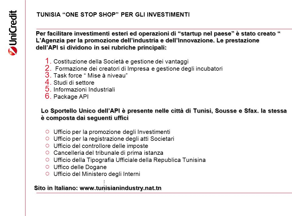 TUNISIA ONE STOP SHOP PER GLI INVESTIMENTI