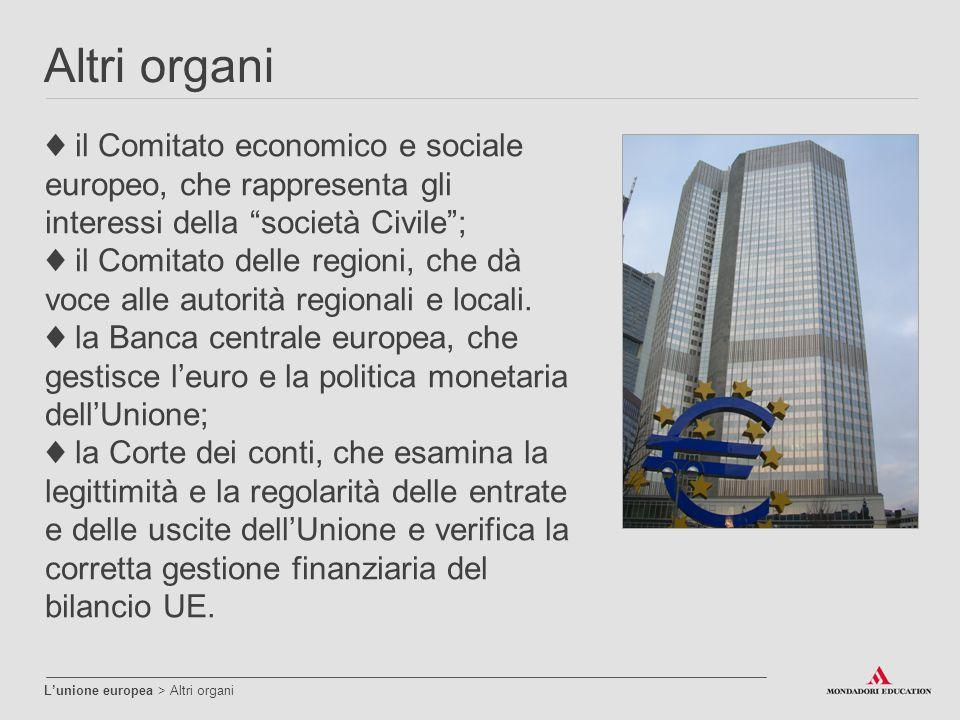 Altri organi ♦ il Comitato economico e sociale europeo, che rappresenta gli interessi della società Civile ;