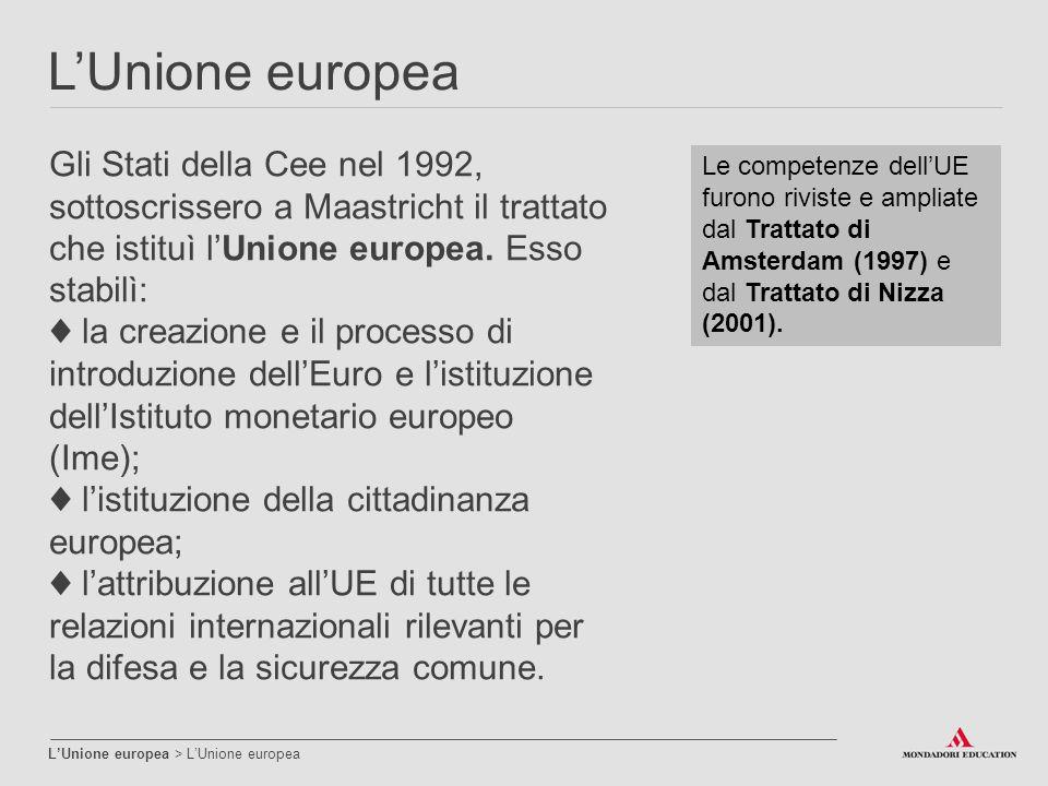 L'Unione europea Gli Stati della Cee nel 1992, sottoscrissero a Maastricht il trattato che istituì l'Unione europea. Esso stabilì: