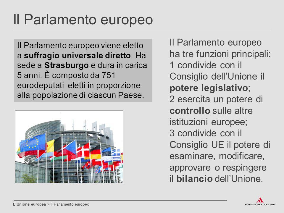 Il Parlamento europeo Il Parlamento europeo ha tre funzioni principali: 1 condivide con il Consiglio dell'Unione il potere legislativo;
