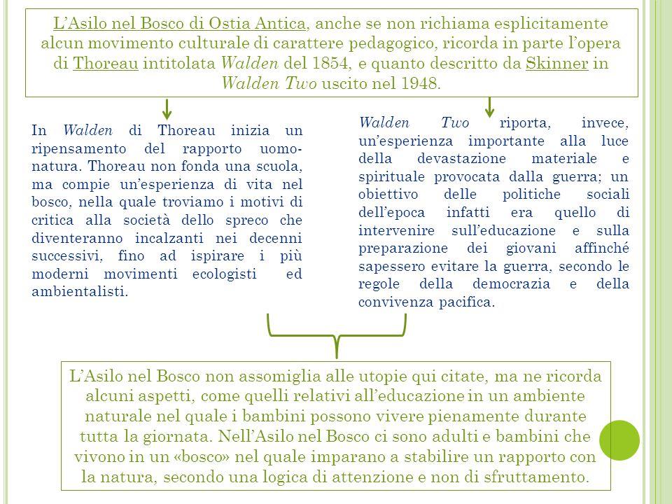 L'Asilo nel Bosco di Ostia Antica, anche se non richiama esplicitamente alcun movimento culturale di carattere pedagogico, ricorda in parte l'opera di Thoreau intitolata Walden del 1854, e quanto descritto da Skinner in Walden Two uscito nel 1948.