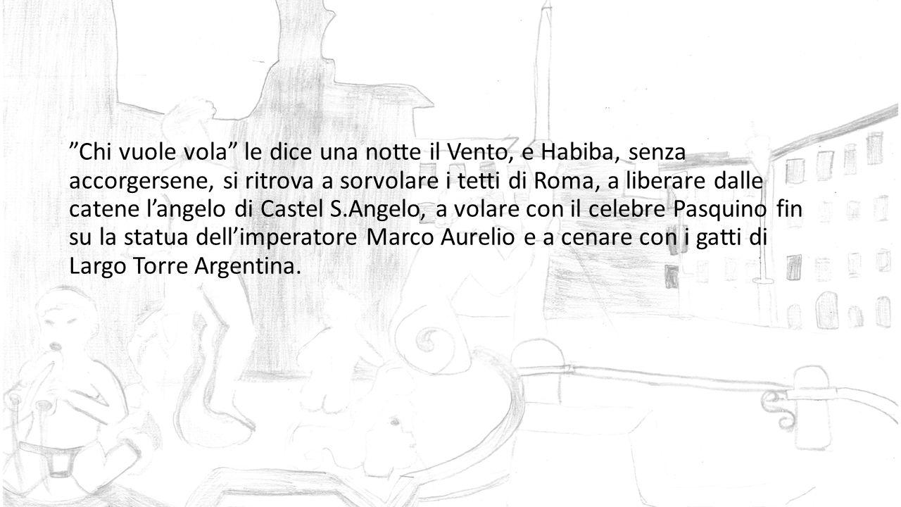 Chi vuole vola le dice una notte il Vento, e Habiba, senza accorgersene, si ritrova a sorvolare i tetti di Roma, a liberare dalle catene l'angelo di Castel S.Angelo, a volare con il celebre Pasquino fin su la statua dell'imperatore Marco Aurelio e a cenare con i gatti di Largo Torre Argentina.