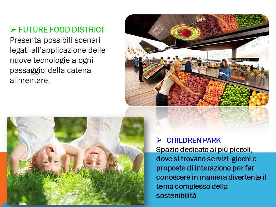 FUTURE FOOD DISTRICT Presenta possibili scenari legati all'applicazione delle nuove tecnologie a ogni passaggio della catena alimentare.