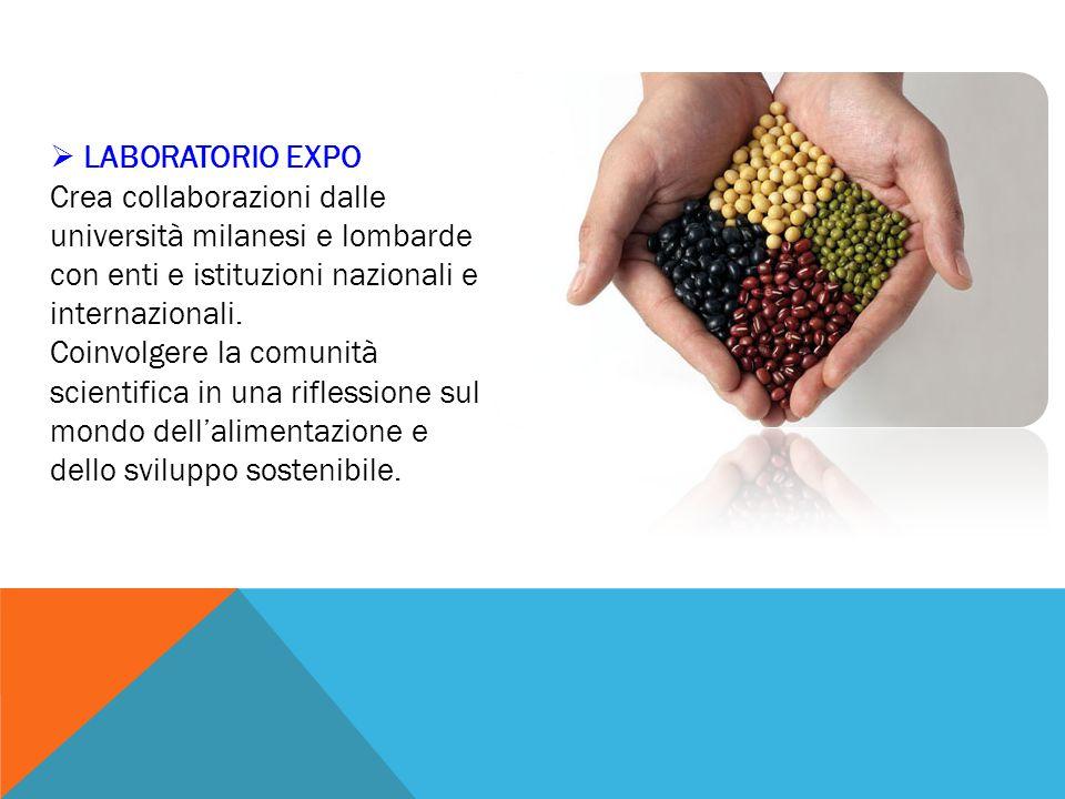 LABORATORIO EXPO Crea collaborazioni dalle università milanesi e lombarde con enti e istituzioni nazionali e internazionali.