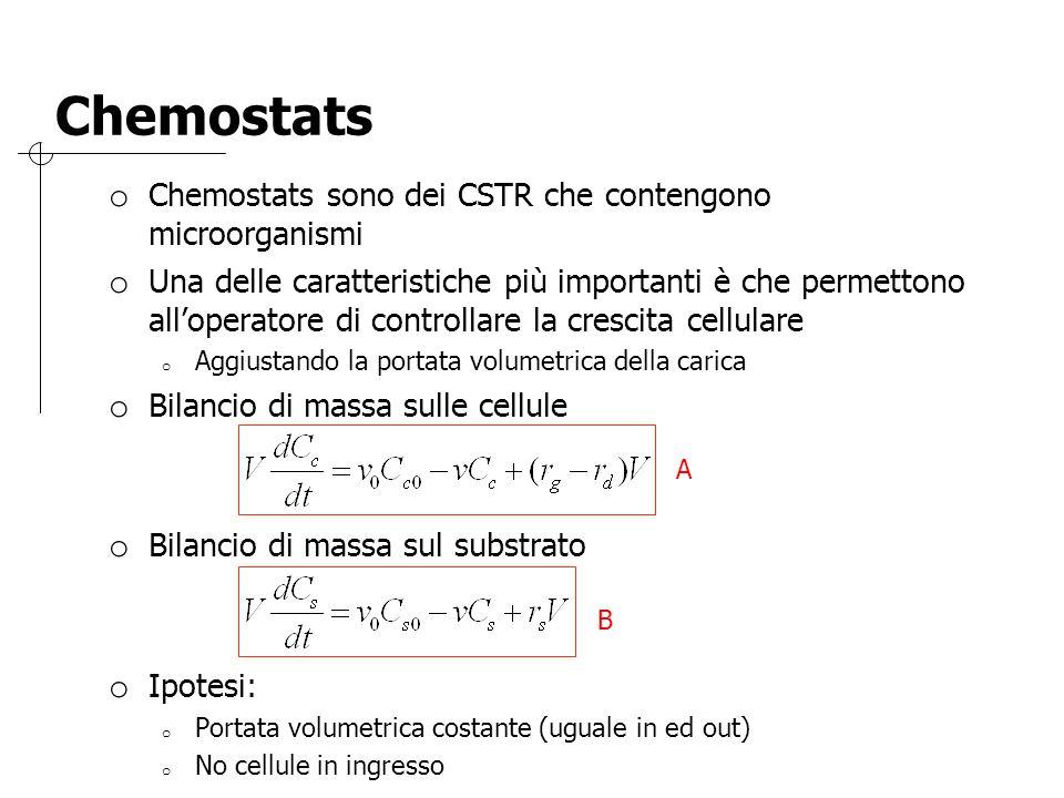 Chemostats Chemostats sono dei CSTR che contengono microorganismi