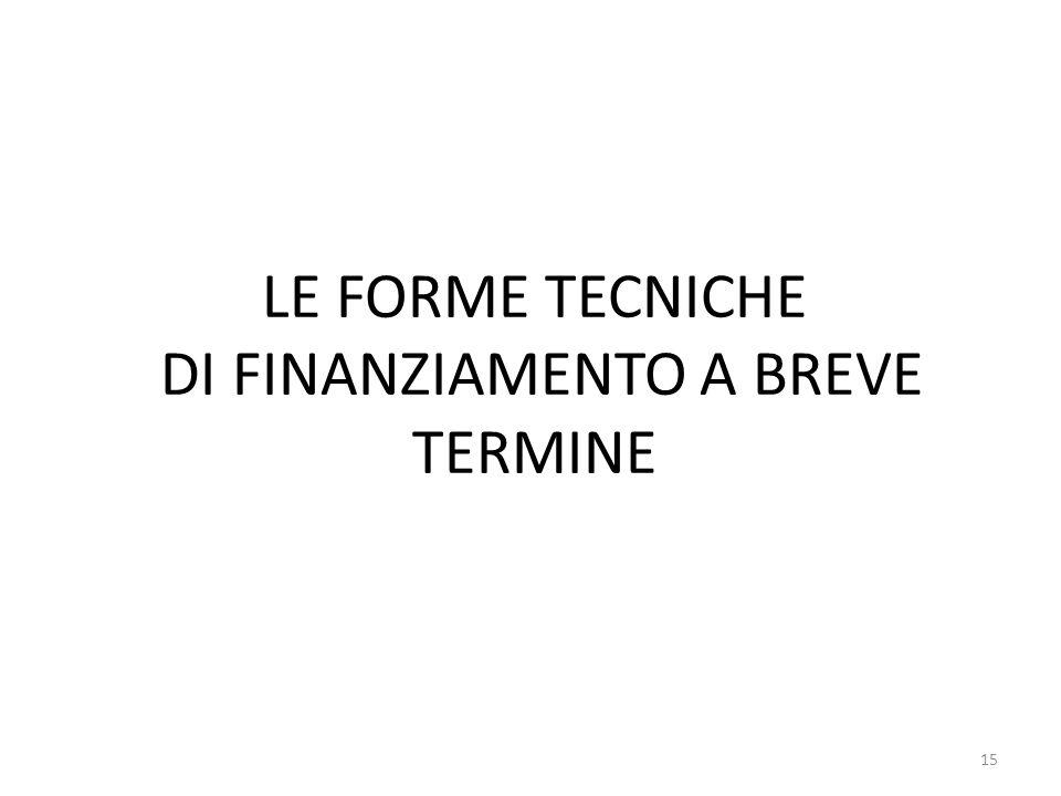 LE FORME TECNICHE DI FINANZIAMENTO A BREVE TERMINE