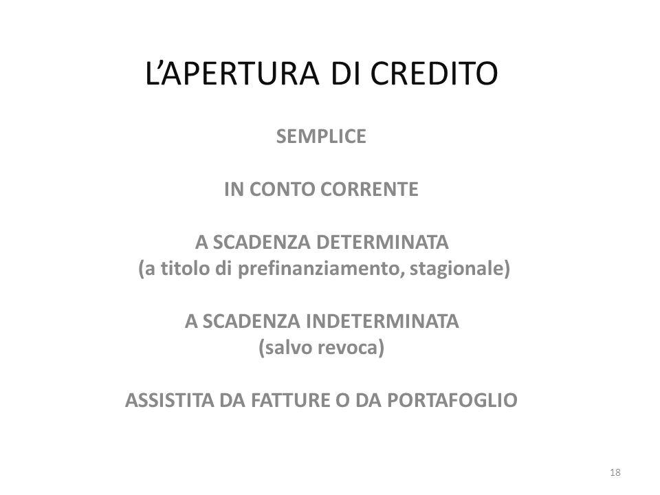 L'APERTURA DI CREDITO SEMPLICE IN CONTO CORRENTE