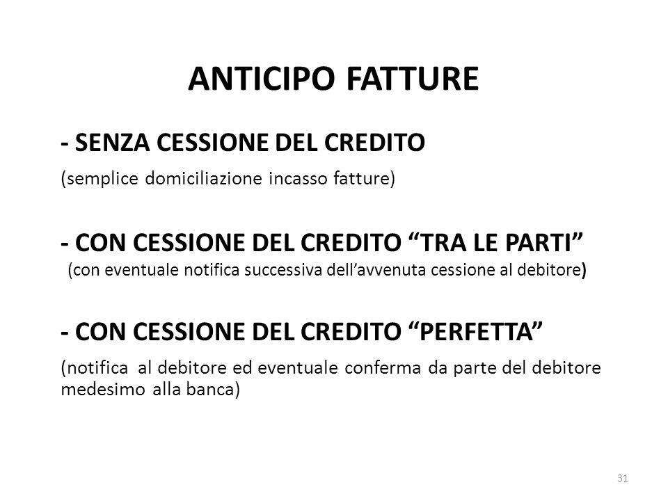 ANTICIPO FATTURE - SENZA CESSIONE DEL CREDITO