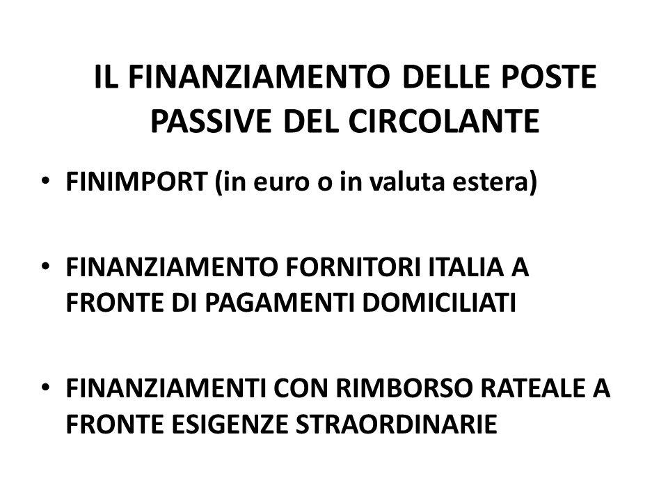 IL FINANZIAMENTO DELLE POSTE PASSIVE DEL CIRCOLANTE