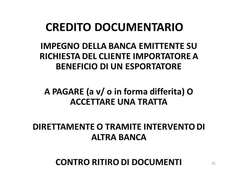 CREDITO DOCUMENTARIO IMPEGNO DELLA BANCA EMITTENTE SU RICHIESTA DEL CLIENTE IMPORTATORE A BENEFICIO DI UN ESPORTATORE.