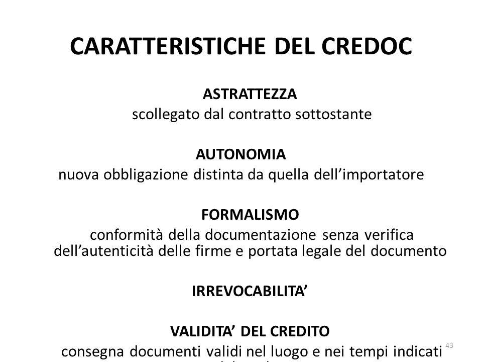 CARATTERISTICHE DEL CREDOC