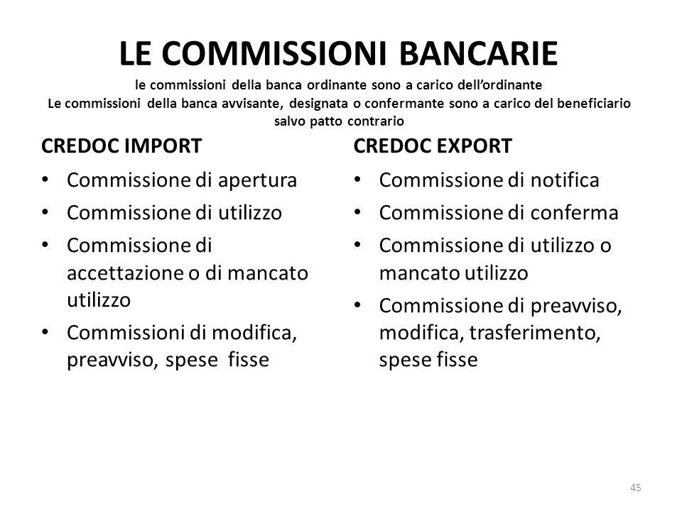LE COMMISSIONI BANCARIE le commissioni della banca ordinante sono a carico dell'ordinante Le commissioni della banca avvisante, designata o confermante sono a carico del beneficiario salvo patto contrario