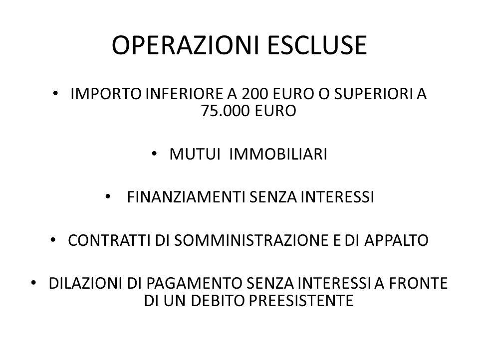 OPERAZIONI ESCLUSE IMPORTO INFERIORE A 200 EURO O SUPERIORI A 75.000 EURO. MUTUI IMMOBILIARI. FINANZIAMENTI SENZA INTERESSI.