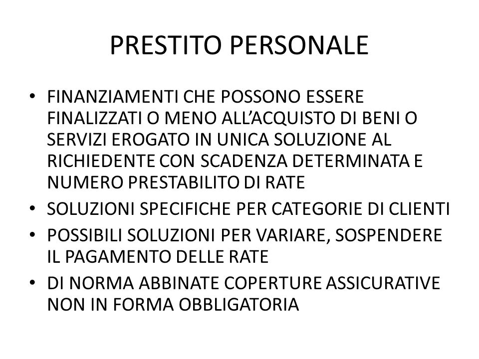 PRESTITO PERSONALE