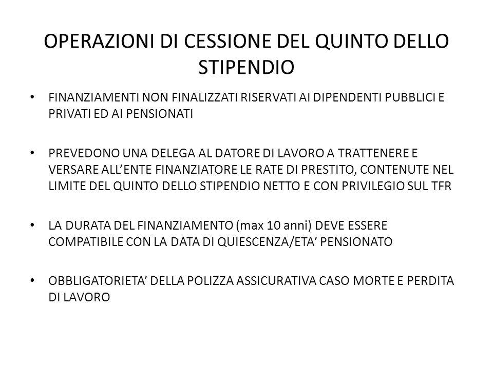 OPERAZIONI DI CESSIONE DEL QUINTO DELLO STIPENDIO