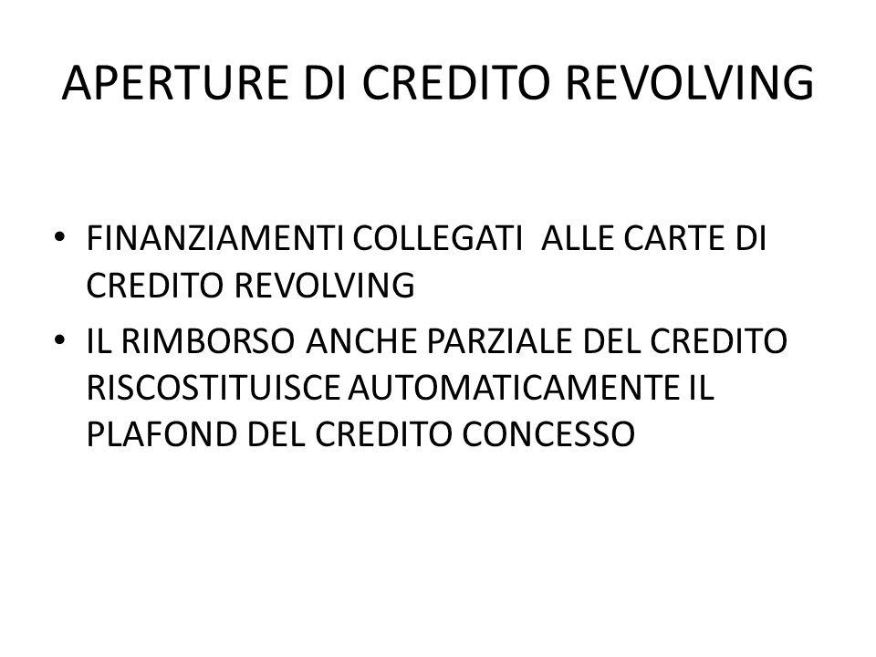 APERTURE DI CREDITO REVOLVING