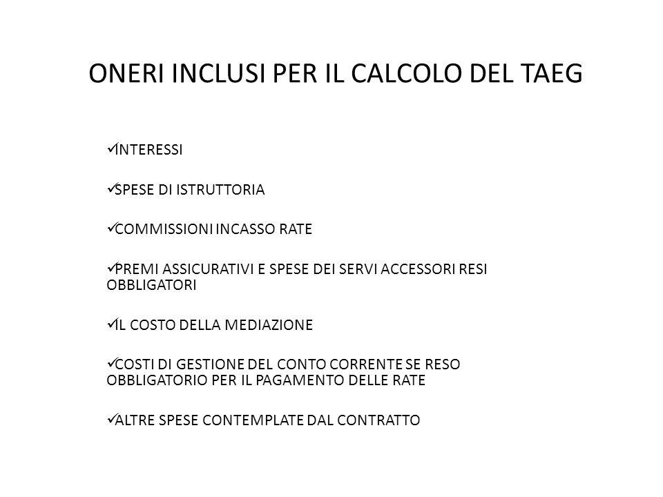 ONERI INCLUSI PER IL CALCOLO DEL TAEG